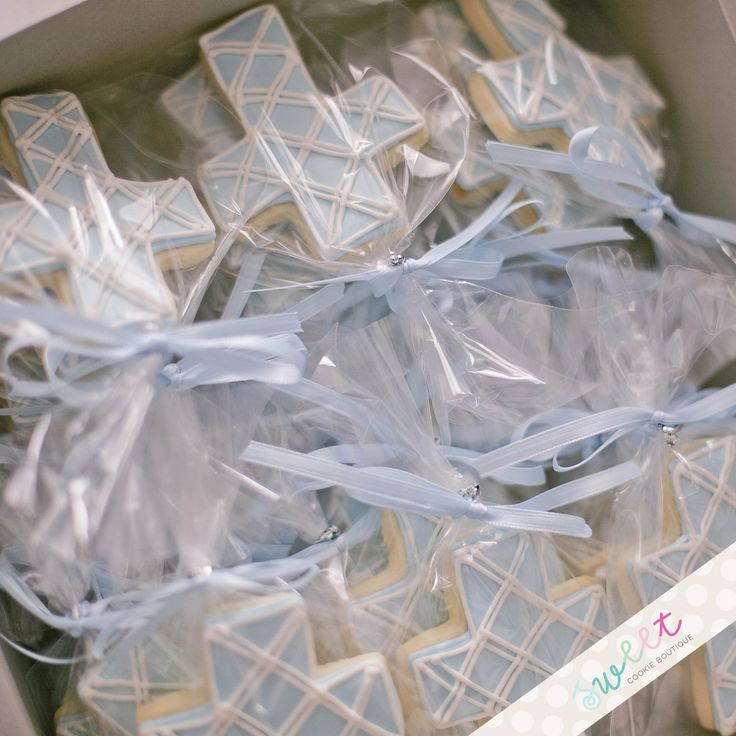 Cross Cookies for Baby Boy Baptism or christening