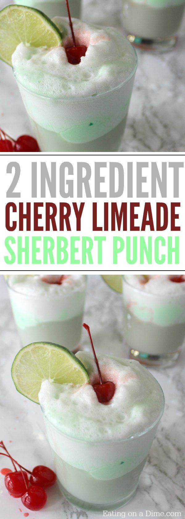 You just need 2 ingredients to make this easy Cherry Limeade Sherbert Punch Recipe -This quick and Easy Party Punch recipe is the best! (best halloween appetizers)