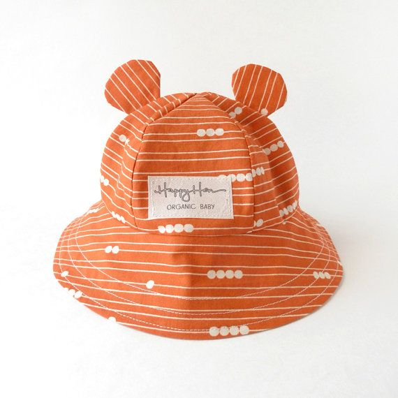 Baby Sunhat in Organic Cotton, Baby Bear Ear Summer Hat Orange Lines & Dots, Eco Friendly Baby Boy Girl Sun Hat, Modern Graphic Bucket Hat