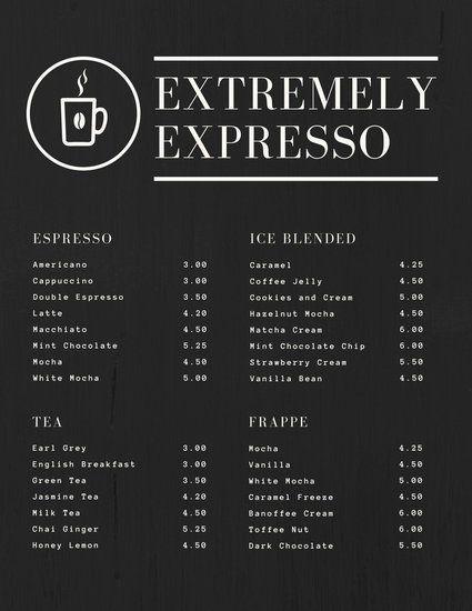 Coffee Menu   Black Textured Simple Coffee Drink Menu Cafe Einrichtung Menu