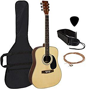 "Amazon.com: Acoustic Guitar 41"" Full Size Natural Includes Guitar Case Strap and More: Musical Instruments"