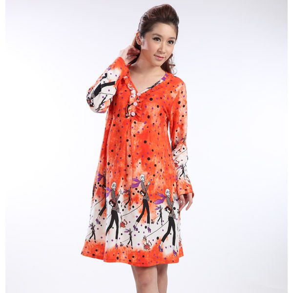 Fashion Floral Printing Maternity Dress For Autumn and Winter Hot Sale Long-Sleeve Flannel Warm Skirt for Pregnant Women Clothes