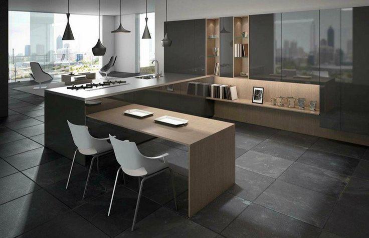 cuisine en U moderne et sombre aménagée avec un mobilier en bois et un carrelage de sol gris graphite