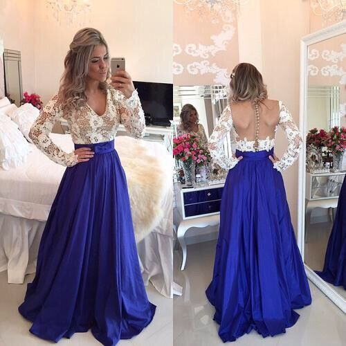 Backless V-neck Splicing Lace Hollow Out Long Party Dress