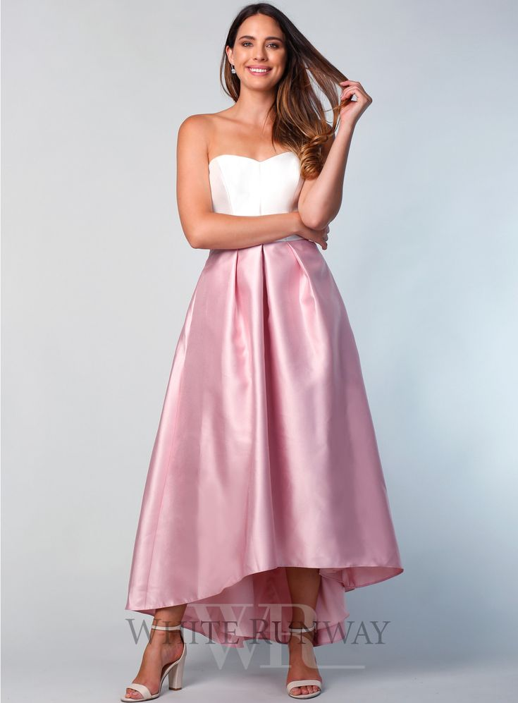 A strapless style with a sweetheart neckline and hi-low hem detail. All  dresses are made to order especially for you and will ...