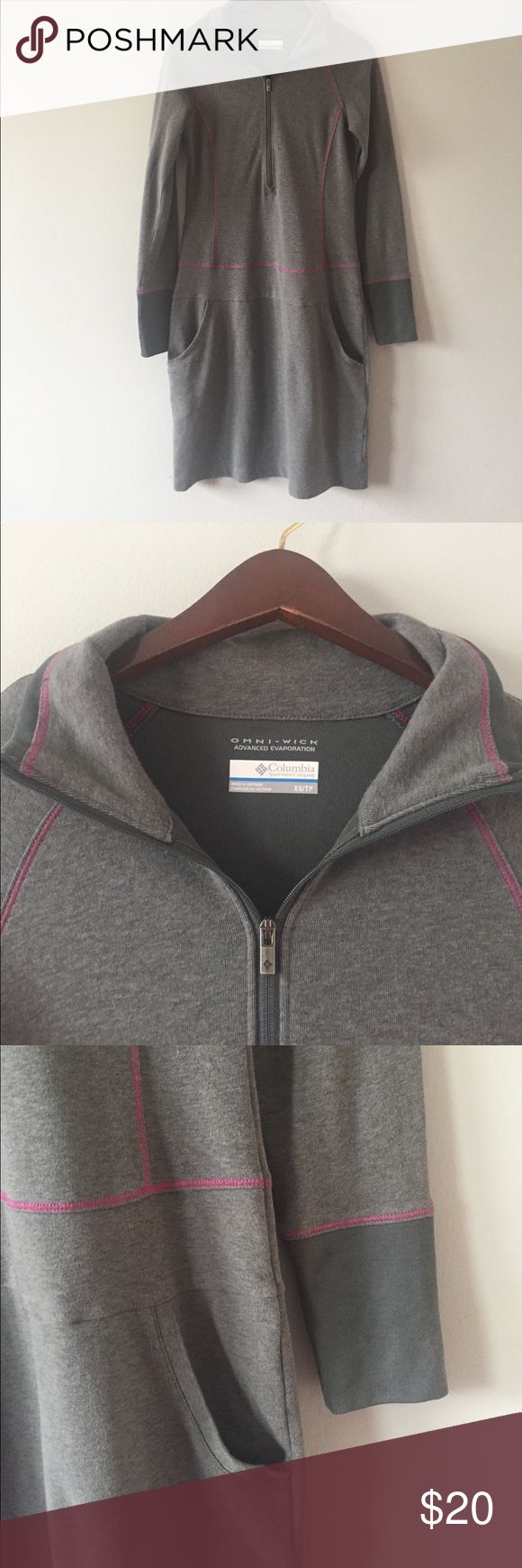 columbia sportswear dress size XS excellent condition columbia sportswear dress size XS. grayish green color with magenta details. half zip with pockets. bundle with other items for an even deeper discount. Columbia Dresses