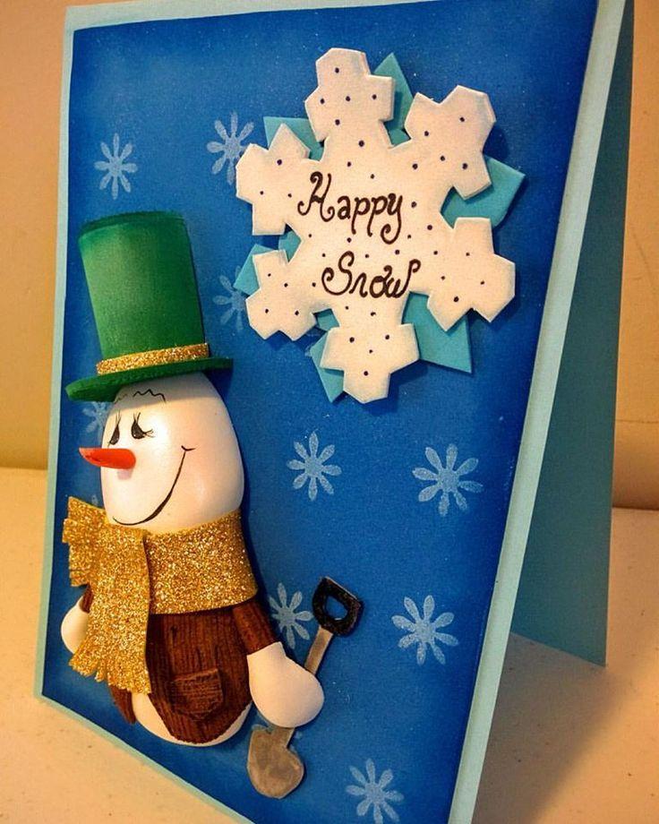 Snowman handmade card gift.  Goma Eva, Eva foam handmade card for christmas. Create cards with a recyceble material.
