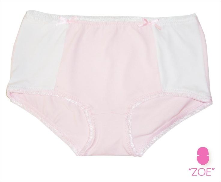 ZOE 016 -   Trusa en lycra de algodón combinado en blanco y rosa