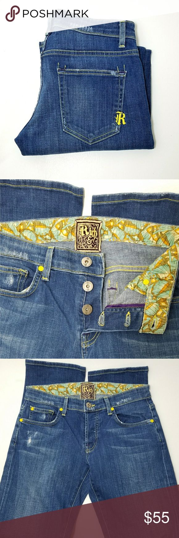 Rich & Skinny Button Fly Jeans Rich & Skinny Button Fly straight leg Jeans. Factory wishkering and distressing. 5 pockets, belt loops. EUC  Waist 15 Rise 8 Inseam 31  No trade or P.P. Reasonable offers considered Bundle Discount Rich & Skinny Jeans Skinny