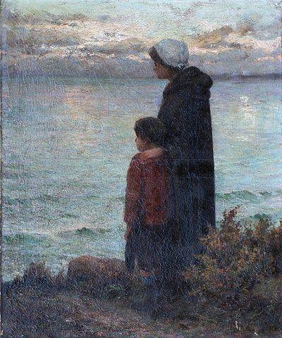 En attendant le retour du pêcheur, Peinture de François GUÉHO, Peintre breton du 20ème siècle