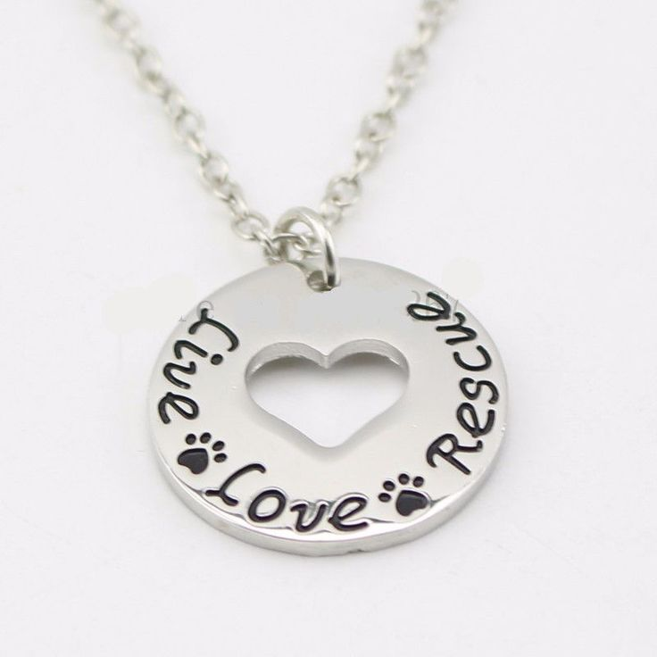 """Live Love Rescue ""Necklace Pet Lover Heart pendant necklace- Proceeds to the Belize Humane Society"