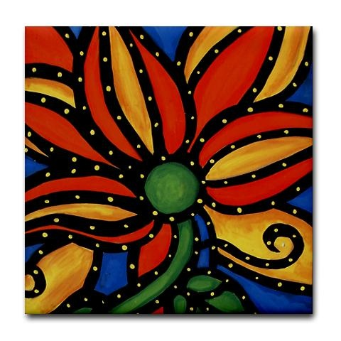 Flower Painting on Mexican Saltillo Tile