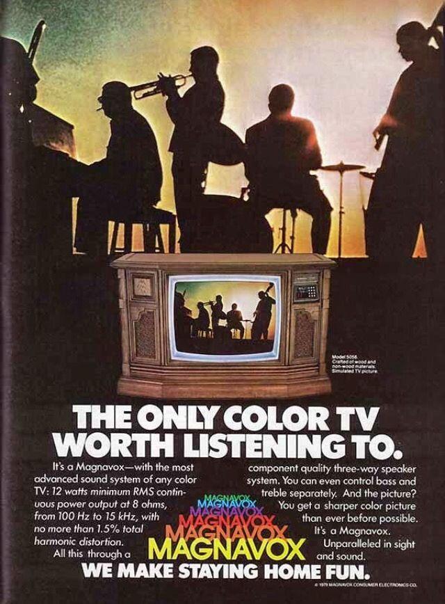 """We make staying home fun."" Magnavox console television circa 1979."