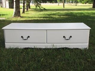 Broken dresser into bench with storage drawers