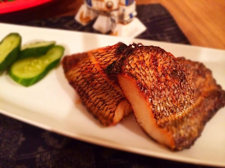 Broiled Chilean sea bass after marinated in miso and sake.