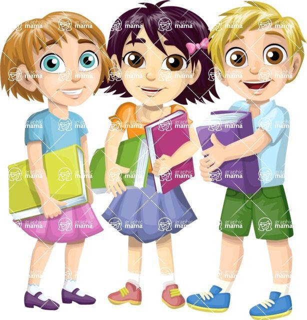 group of children at school with textbooks cartoon vector characters which are customizable - Cartoon Picture Of Children