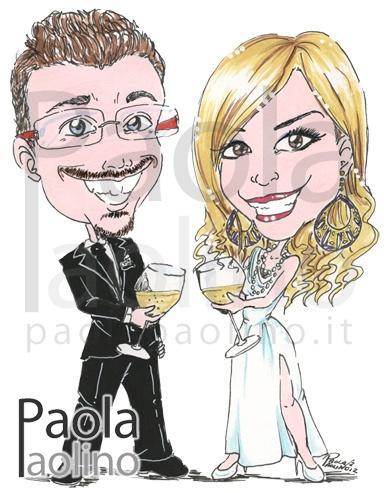 Caricatura di sposi con calice di vino in mano: un brindisi alla nuova vita matrimoniale! www.paolapaolino.it #caricature #caricatura #caricaturista #ritrattista #illustrazione #arte #matrimonio