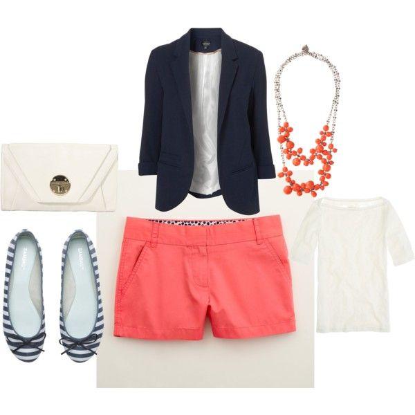 Summer. Coral & Navy.