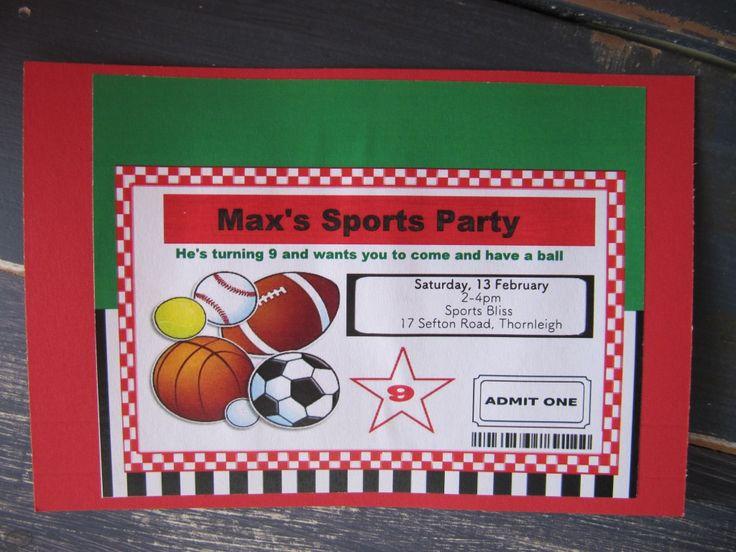 Handmade Boys Sports Party Birthday Invitation