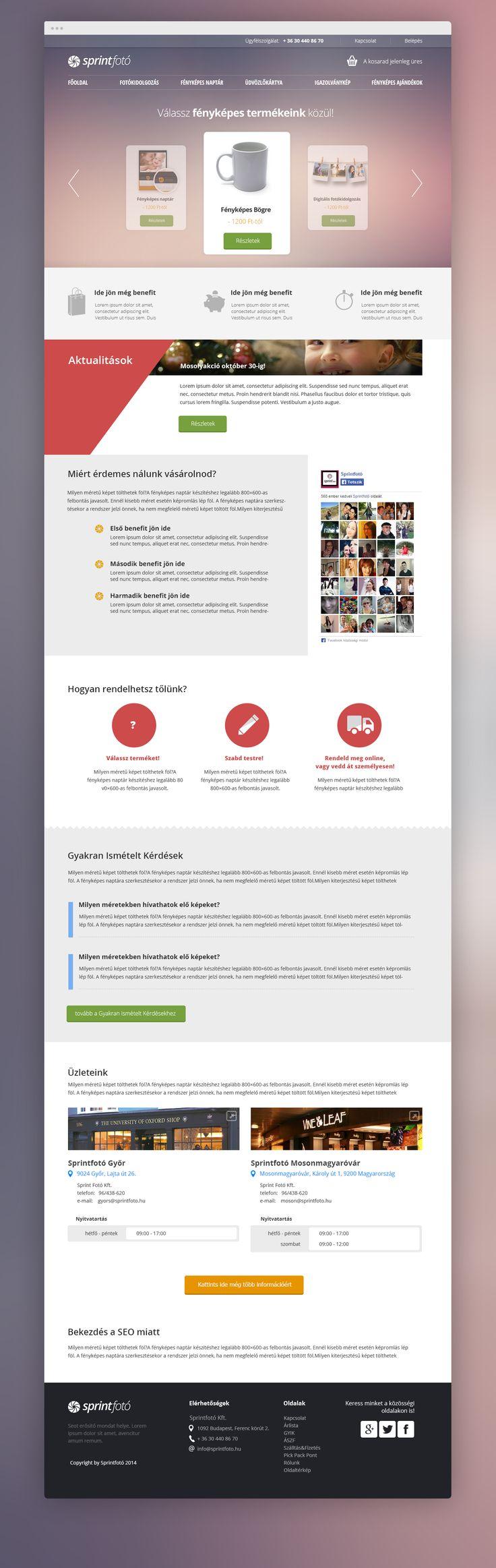 Main page design - online photo printing company. Sprintfoto project.