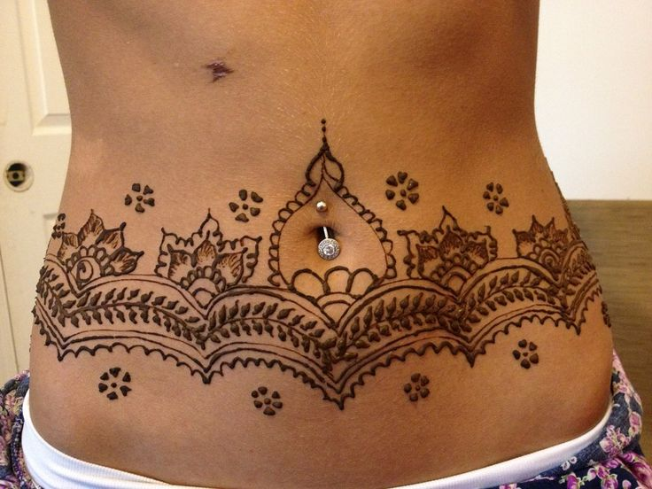 Henna tattoo covering the whole waist before going for vacation ...