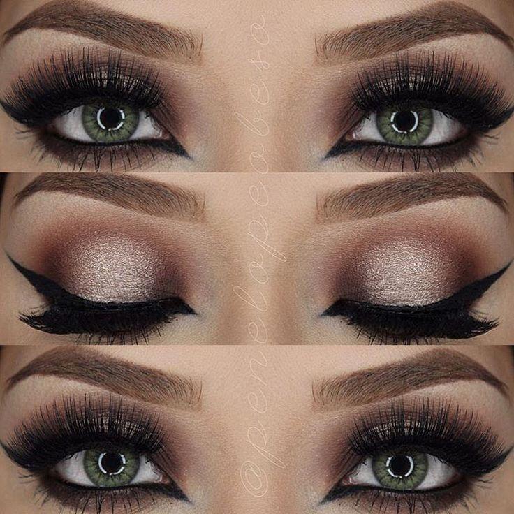 Chocolate smoky eye look.
