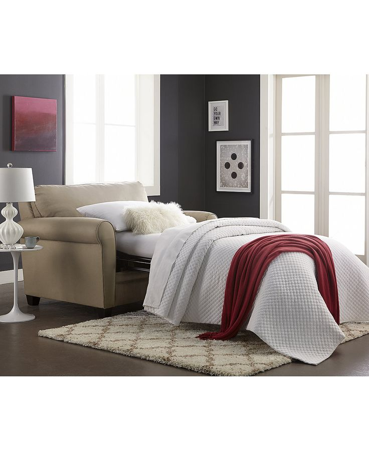 Kaleigh Fabric Twin Sleeper Chair Bed - Furniture - Macy's -- I think this is the one!!!