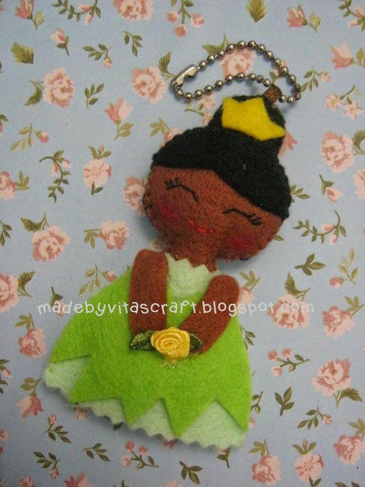 Tiana Disney Princess Felt Doll Keychain