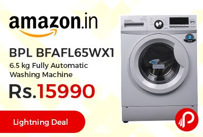 Amazon Lightning Deal is offering 20% off on BPL BFAFL65WX1 6.5 kg Fully Automatic Washing Machine at Rs.15990 Only. Fully-automatic front-loading washing machine, Digital led display, 6.5 kg capacity, 8 wash programs, Stylish contemporary design, 1 year on product and 3 years on motor Warranty.