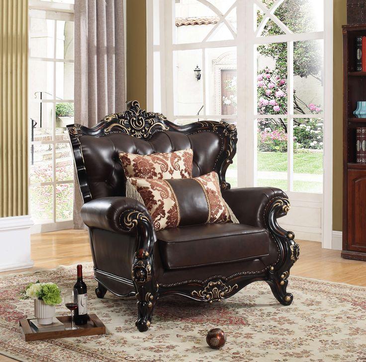 Barcelona Brown Leather U0026 Rich Cherry Chair. Meridian FurnitureBrown ...