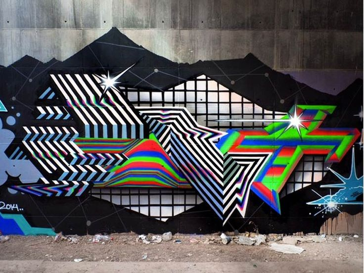 "PSYCHEDELIC STREET ART - The ""Kinetic Mundi"" street art series by Spanish artist Felipe Pantone, aka PANT, who mixes typography and abstraction into beautiful psychedelic graffiti. Between geometry and ultra-modern aesthetic, Felipe Pantone takes the concept of the lettering at the cutting edge with a futuristic and experimental alphabet."