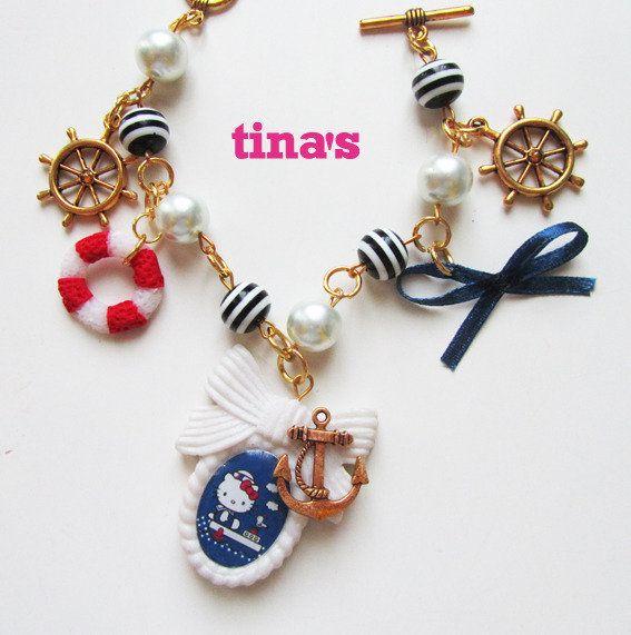 Bracciale Hello Kitty in fimo cernit mare sea ancora timone, by Tina's - HandMade Fimo & Cernit Jewels, 10,00 € su misshobby.com