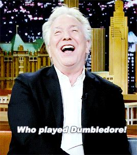"Alan Rickman on the Jimmy Fallon show ... Alan had mispronounced ""Dumbledore"" and it cracked him up - in the GIF he's correcting the pronunciation."
