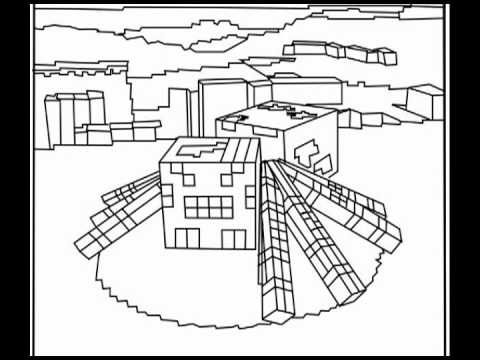 printable minecraft spider coloring pages