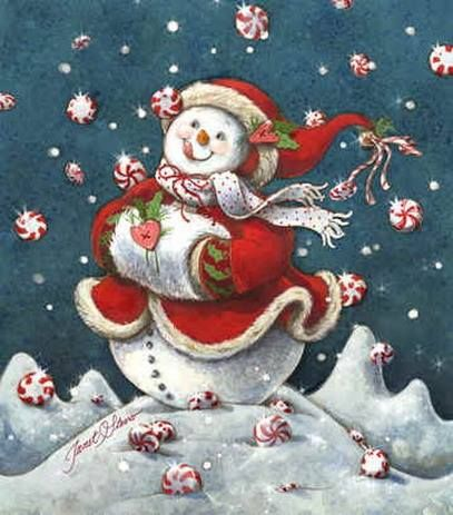 Snow Candy Snowman - Peppermint Dreams