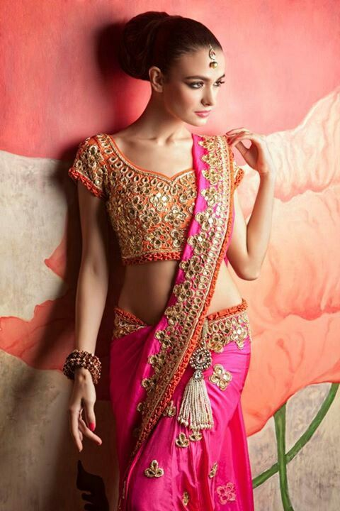 mirror work blouse with pretty saree or sari