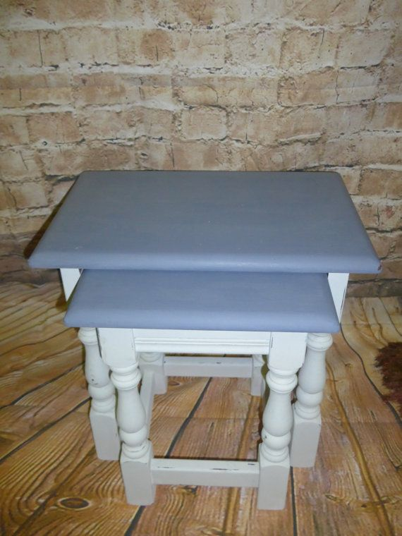 Nest Of Tables Solid Wood Shabby Chic Upcycled by RevampedUp