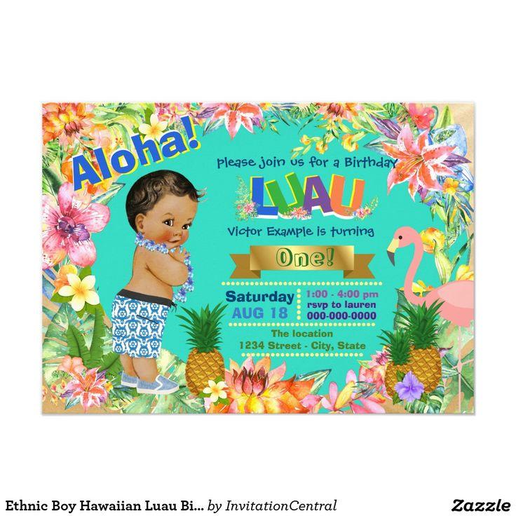 Fête d'anniversaire hawaïenne de Luau de garçon Carton D'invitation 11,43 Cm X 15,87 Cm