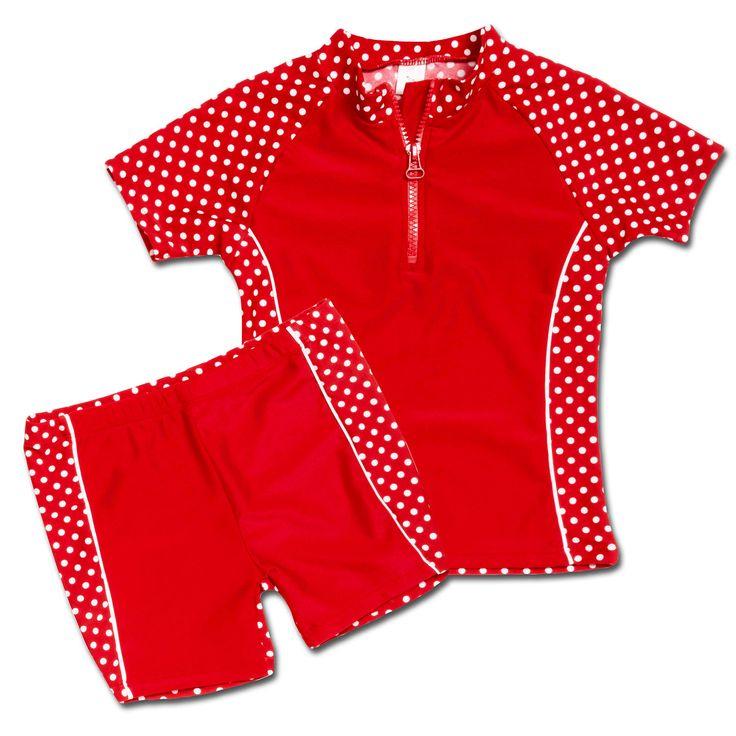 PLAYSHOES Girls TUTA DA BAGNO 2 pezzi, colore rosso a pois 74