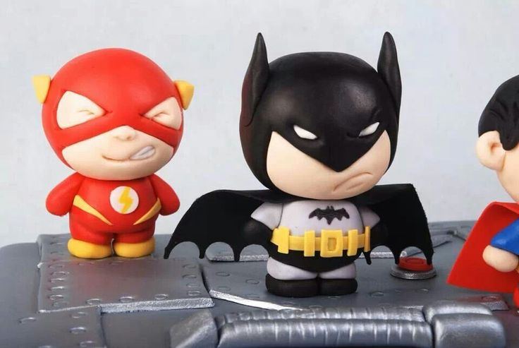 Batman and flash polymer clay charms