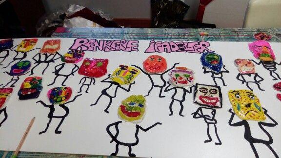 Sinif2 ozel maya okullari Tema:Renk Duygularimizi ifade ederken renklerden yardim istedik #ceramic artchild childwork