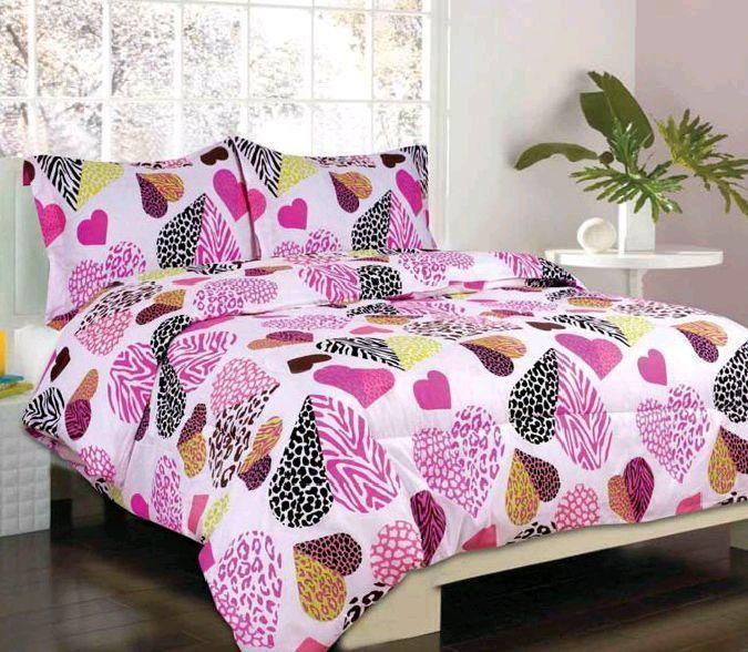Girls Twin Bedding Set Lumina Pink Heart Zebra Cheetah