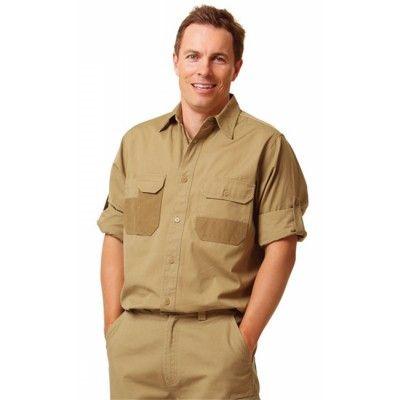 Fine Duck Weave Dura-Wear Long Sleeve Work Shirt Colours : Khaki   Navy Work Wear / Shirts (WT06_win)