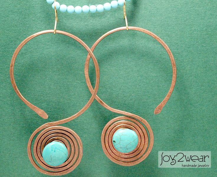 The Kumalyans - Copper wire Turquoise gemstone by joy2wear on Etsy