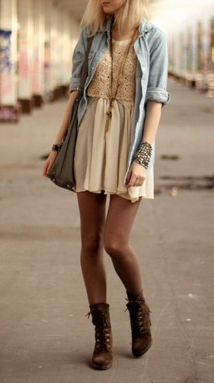 A cute way to bring your spring pieces into fall. Add tights and boots with a long sleeve shirt