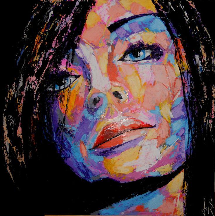 Soulag 80x80 cm visage femme acrylique sur toile appliqu au couteau tableau de visage - Peinture sur visage ...