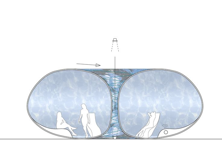 Relax just by looking! Shaped like a donut of transparent PLEXIGLAS®, this relaxation room invites you to journey from torus to wellness. In the center of the room, the eyes are drawn to a whirlpool, while the outer area is covered by a quiet film of water. Just look and feel well!