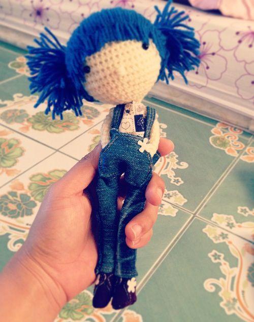Crochet doll with blue hair