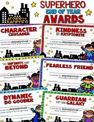 End of year SUPERHERO awards. 32 unique awards to give your students a superhero send-off they'll never forget!