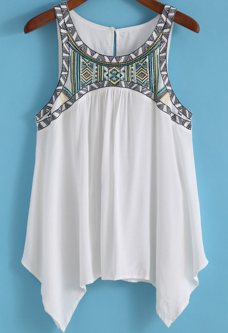 White Round Neck Embroidered Loose Tank Top 13.50
